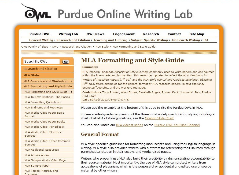Owl Mla Citation Guide Ms Andres Class